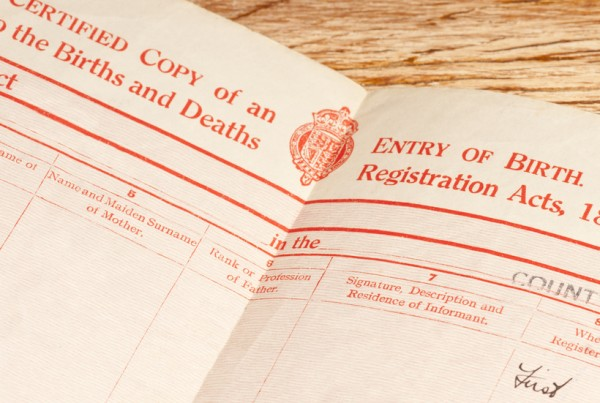 Old, circa 1948, blank British Birth Certificate showing the main headings.